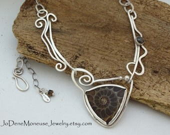 SALE! Sterling silver and Ammonite swirl necklace, hand fabricated, one of a kind,metalsmith jewelry