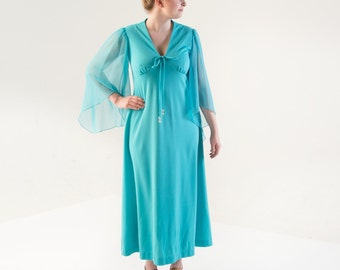 1970's Turquoise Angel Sleeve Polyester Maxi Dress