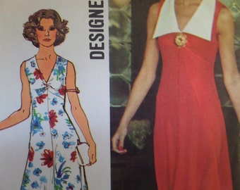 LOW V-NECK DRESS Pattern • Simplicity 6344 • Miss 12 • Sleeveless Dress • Empire Bust • A-Line Dress • 4 Dollar Patterns • WhiletheCatNaps