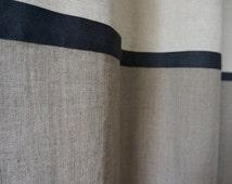 Linen curtains Custom color Color block curtain panel Blackout curtain, day curtain, privacy lined window curtain. Custom length drapes