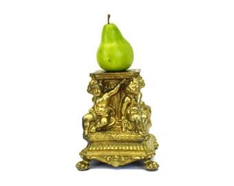 Vintage  Ornate Gold Cherub Metal Lamp Base (E6305)