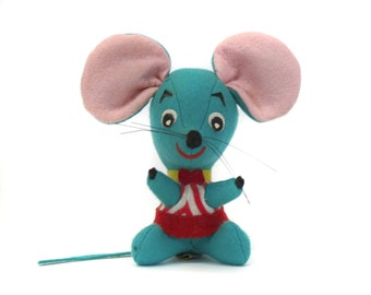 Vintage Dakin Dream Pets Aqua Mouse in a Striped Shirt Stuffed Animal (E7318)