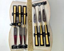Vintage Bakelite Stakemates Deluxe Steak Knife Set Mid Century Knives 50s Black.  No.00546