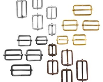 10 pcs Metal sliding bar adjuster buckles - 21mm, 26mm, 30mm, 36mm, 41mm