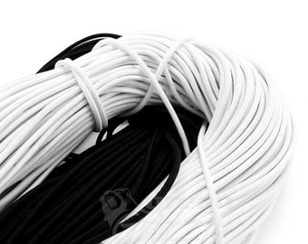 Elastic rope bungee shock cord tie down black or white 2.5 mm, 3 mm or 6 mm