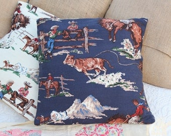 Vintage Cowboys / navy rustic, western pillow case for 18 x 18 pillow form / horses / decorative pillow / western home decor country /
