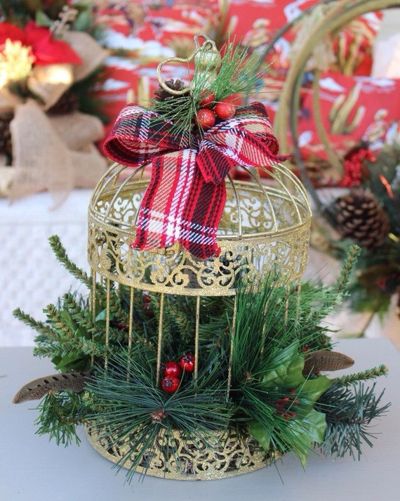 Gold glitter birdcage christmas centerpiece by gypsyfarmgirl