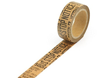 Washi Tape in Kraft Paper - Kraft with Black Text - Washi Tape Sale