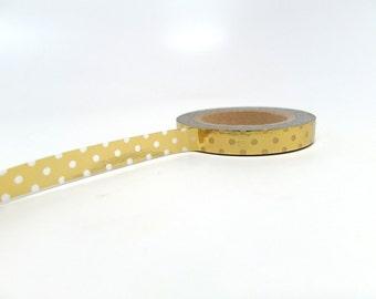 Polka Dot Washi Tape - Gold Washi Tape - Slim Washi Tape 7.5mm
