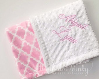 Monogrammed Baby Blanket - Pink and Off White Quatrefoil Personalized - Moroccan Tile Print , Girl Blanket with name, birth stats Newborn