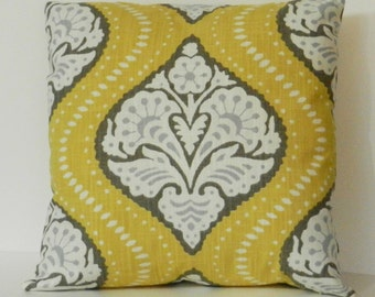 Suzani Pillow Cover Yellow, Gray, White Robert Allen Cotton Slub  Fabric 18 x 18 inch with invisible zipper closure