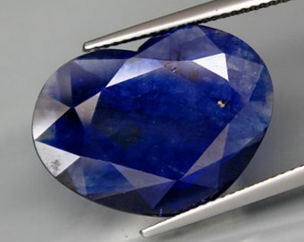 Reversible Statement Piece, Two Faced Deep Blue Sapphire Faceted Heart Shape Slice, 13.06 Carat,  21 x 16 MM, Natural