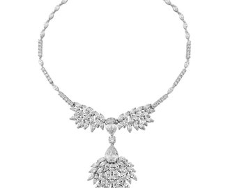 Bridal necklace.  Cz crystals on a rhodium plated finish ~ matching earrings ~