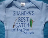 Grandpa's Fishing Buddy,Grandpa's Best Catch of the year,Personalized With Name,Dad's Fishing Buddy,Baby Blue Onesie,Baby Boy Shower Gift