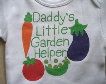 Daddy's Little Garden Helper,I love Vegetables Onesie,Daddy's Little Gardener, Father's Day,I love my Garden,Unisex Baby Shower Gift