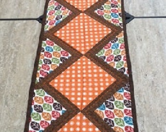 Quilted Table Runner, Falling Leaves
