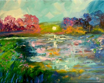 """Original OIL  Painting Large  Abstract Landscape Painting  24"""" x 36""""  """"Marshland  View"""" Canvas by Claire McElveen"""