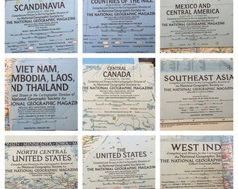 Stack Of Vintage National Geographic Maps ~ You Get All These And Alot More ~ 40's / 50's / 60's ~ Excellent Condition ~ MUST SEE