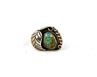 Southwest Turquoise Sterling Vintage Statement Ring with Leaf Size 6