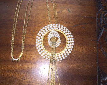 Vintage Rare Alice Caviness Large Necklace with white glass Beads Signed