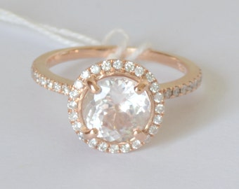 rose gold halo sapphire ring, champagne peach sapphire with diamonds. SKU - ***1184P