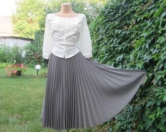 RESERVED Pleated Skirt / Pleated Skirts / Circle Skirt / Pleated Circle Skirt / Skirt Vintage / Gray / Size  EUR42 / 44 / UK14 / 16