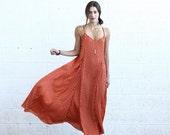 Big SALE Flare Maxi dress, Floral Orange.