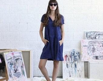 Summer SALE Blue Drop Waist Dress - Blue Midi Dress