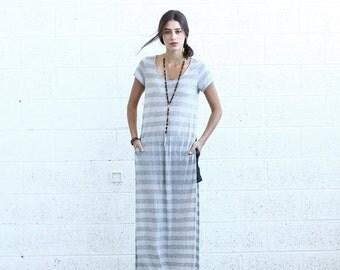 Final Summer Sale SALE! Striped Maxi T-shirt dress, Light Gray.