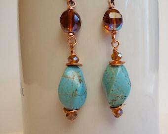 Turquoise, Czech Glass, Copper Dangle Earrings