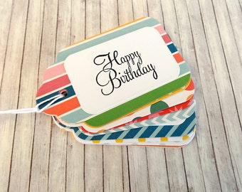 Gift Tags, Gift Tag Set, Assorted Gift Tags, Paper Tags, Birthday Gift Tags, Hanging Tags, Set of 12 Tags, 12 Large Tags, Happy Birthday