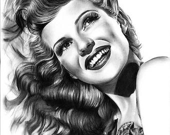 Rita Hayworth Original Drawing