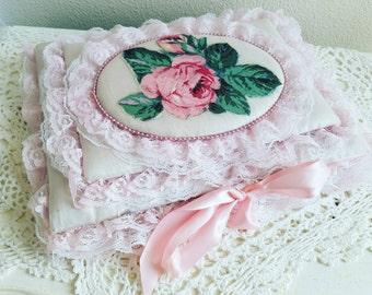 Antique Lace Album, Lace Handmade Album, Shabby Chic Album, Fabric Album, Roses Album