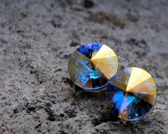 30% OFF SAMPLE SALE Aurora Borealis Earrings Super Sparklers Swarovski Crystal Northern Lights Stud Earrings