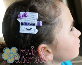 Halloween Hair Clip - Meet Miss Mummie - Adorable
