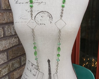 Clearance long green and silver chunky necklace in cats eye beads