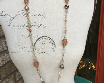 Peach long necklace with wire wrapped beads so beautiful