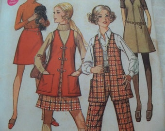 1969 Young Jr. Teen Size 7-8 Simplicity 8360 Jumper Or Vest, Skirt Pants Sewing Pattern Supply Mod 60s Cuffed Pants Deep-Cut Armholes c