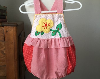 Baby Girl's 6-9 Months Red Floral Ruffle Romper Sunsuit