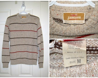 "JANTZEN 1960s Men's Striped Crew Neck Sweater / 38"" Chest Unstretched / CLEAN / Free US Shipping"