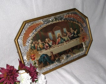 Victorian LAST SUPPER Diorama Wall Hanging / Hammered Octagon Frame, Convex Glass / 18 X 11 Religious Decor
