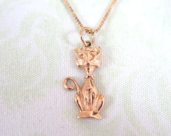 Adorable 14k Gold Kitty pendant
