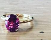 SALE Fleur de Lis Gold Ring - Pink Tourmaline Ring - Oval Pink Tourmaline - Large Gemstone Ring - Pink Ring - Oval Ring - October Birthstone