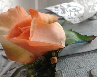 peach wedding boutonniere burlap boutineers for wedding