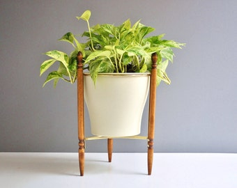 Wood and Brass Tripod Plant Stand with Planter - Vintage Plant Stand
