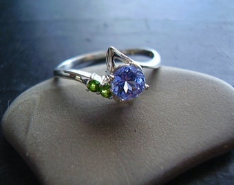 Genuine Tanzanite & Green Chrome Diopside Ring - Solid 925 Sterling Silver Ring - Alternative Engagement Ring - Nontraditional Wedding Ring