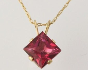 """Synthetic Pink Sapphire Pendant Necklace - 10k Yellow Gold Women's 18"""" C9679"""