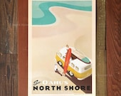 See Oahu's North Shore - 12 x 18 Retro Hawaii Travel Print
