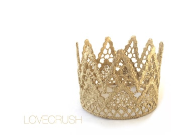 Ready to Ship ||Paxton mini ||WASHABLE unisex prince princess vintage gold lace crown || headband option || photo prop ||newborn-toddler