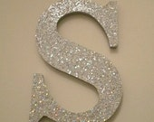 SILVER GLITTER LETTERS - Decorative Silver Glitter Wall Letters in Super Sparkling Octagon/Prisma Glitter - Initials or Words in A-Z